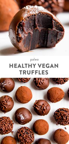 Recipes Snacks Vegan Healthy Vegan Chocolate Truffles Recipe (Paleo) - these healthy vegan truffles make for the perfect Mother's Day gift Chocolate Paleo, Vegan Chocolate Truffles, Vegan Truffles, Oreo Truffles, Chocolate Recipes, Coconut Truffles, Chocolate Brownies, Dairy Free Truffles, Desert Recipes
