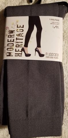 d89e53368d4 NIP-Ladies Footless Tights Sz L XL Fleeced Lining Med Gray Warm Perfect  w Boots!  fashion  clothing  shoes  accessories  womensclothing   hosierysocks (ebay ...