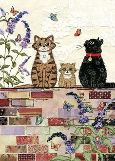 Awesome inspiration for free motion embroidery and raw edge applique - on a website called Bug Art . Cat Applique, Raw Edge Applique, Applique Quilts, Free Motion Embroidery, Machine Embroidery, Illustration Noel, Illustrations, Sewing Machine Drawing, Art Carte