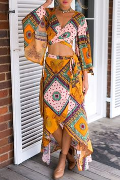 V-Neck Flared Sleeve Wrap Front Short Top with High Low Maxi Skirt