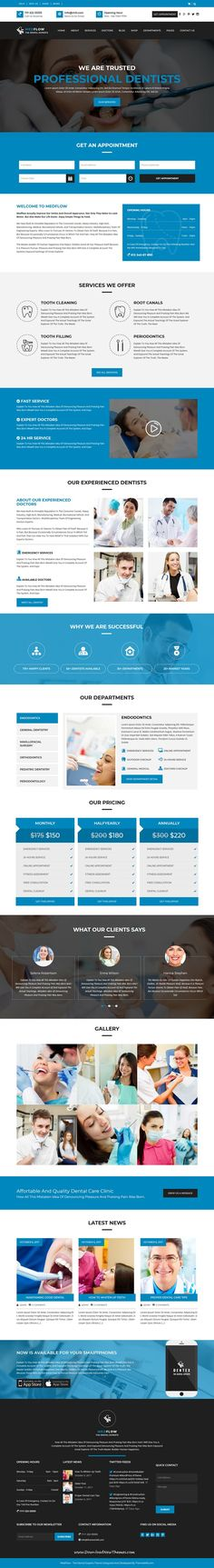 Medflow is clean and modern design responsive #WordPress theme for #dentists, #dental clinics and #oral health care service website to live preview & download click on Visit 👆