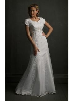 Bargain Short Sleeve Sheath Court Train Straps Lace Formal Wedding Dresses - Wedding Dresses