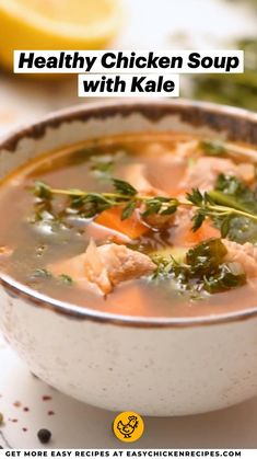 Healthy Chicken Soup, Chicken Soup Recipes, Chowder Soup, Comfort Foods, Kale, Soups, Chili, Collard Greens, Chile