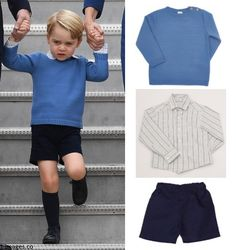 hrhduchesskate:  Canada Tour, Day 1, Victoria, British Columbia, September 24, 2016-Prince George wore Pepa & Co Bue Sweater with Wooden Buttons, Boys plaid shirt and navy shorts