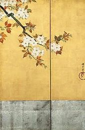 Detail. Sakai Hōitsu | Blossoming Cherry Trees | Japan | Edo period (1615–1868) | The Met. Rinpa style.