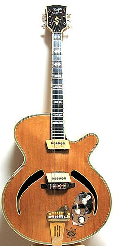 Hoyer archtop guitar with cat-eye soundholes