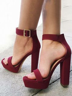 Women s Style Sandal Shoes Maroon Ankle Strap Sandal Heels Open Toe Chunky Heel  Sandals Platform Sandals Heels women s Fall Fahsion Outfits 2017 for Date 76c4bd2a5e0c