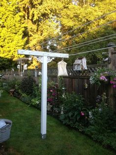 Clothes line ~ Might look cute around the patio :) Vibeke Design, Vintage Laundry, Outdoor Living, Outdoor Decor, Light Bulb Types, Garden Projects, Garden Inspiration, The Great Outdoors, Outdoor Gardens