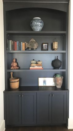 Trendy Bedroom Design Grey Built Ins Ideas Custom Bookshelves, Custom Shelving, Bookshelves Built In, Dark Wood Shelves, Dark Wood Desk, Custom Cabinets, Wood Cabinets, Custom Closets, Trendy Bedroom
