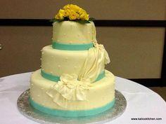 Wedding Cakes- 3 tier, fondant, tiffany blue ribbons, draped fondant, sugar pearls