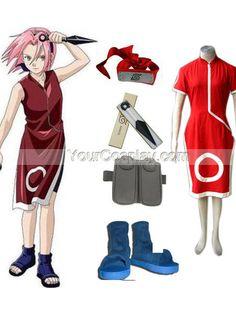 Naruto Sakura Haruno Women's Cosplay Costume and Accessories Set, Naruto Cosplay Costumes, Cosplay Costumes