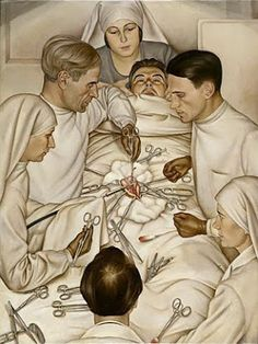 Operation (1929) by Christian Schad (1894-1982), German--painter associated with Dada and the New Objectivity movement.Schad continued to paint in the 1950s in Magic Realist style and returned in the 1960s to experiments with photograms (wiki) - (Weimarart)