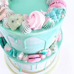 #Teal #drip #cake