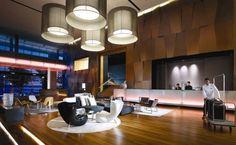 Modern hotel lobby interior design with unique lamp