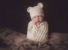 Set of 2 Crochet Patterns for Baby Bear Beanie Hat and Karma Cocoon or Swaddle Sack - Welcome to sell finished items - pinned by pin4etsy.com