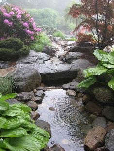 Do you need inspiration to make some DIY Backyard Ponds and Water Garden Landscaping Ideas in your Home? Water garden landscaping is a type of yard design which helps one to capture the essence of nature. Backyard Water Feature, Ponds Backyard, Backyard Waterfalls, Garden Ponds, Koi Ponds, Diy Garden, Backyard Patio, Backyard Stream, Gravel Garden