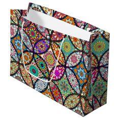 Floral mandalas creative circles art pattern large gift bag