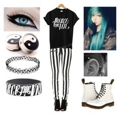 """""""Pierce the Veil Outfit #3"""" by mrosep on Polyvore featuring Dr. Martens and YIN"""