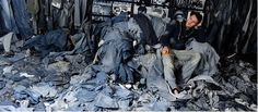 So many pairs of jeans in Ian Berry's studio! #denim art from http://www.ianberry-denimu.com/