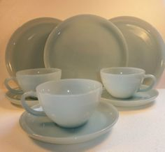 "Blue Delphite 9"" Dinner Plates ~ Coffee Tea Cups Saucers ~ Fire King ~ 9 Pieces"