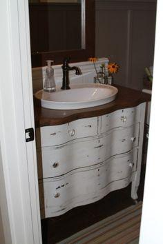 bathroom vanity from dresser. I like the raised sink by debbie bathroom vanity from dresser. I like the raised sink by debbie Shabby Chic Dresser, Dresser Sink, Dresser Vanity, Bathroom Makeover, Shabby Chic Bathroom, Bathroom Vanity, Bathroom, Old Dressers, Dresser Vanity Bathroom