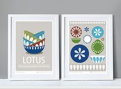 """Collection of 2 Posters CATHRINEHOLM """"Lotus"""" in a cold palette colors, A3 x 2, Mid century modern, Poster print, Retro kitchen Art"""