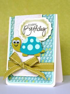 Isn't this little turtle adorable. I bought a new cartridge for my Cricut yesterday and there are so many cute little animals in there that will be great for cards for my kid's friends birthdays. I based my card on one by Mariana Grigsby for the latest Case Study Challenge #5. Here's Mariana's card: The …