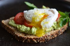 tango-mango:   Late breakfast Mash an avocado with a little lemon juice and some salt. Spread it on a piece of toasted multigrain bread. Add sliced tomatoes and top with poached egg. Inspired by Martha Stewart Living magazine.