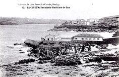 Os pavillón do Sanatorio de Oza. O lazareto sucio, e ao fondo o faro de Oza, os pavillóns e a vivenda do administrador (191?). (Arquivo Reino de Galicia, Fondo Oza)