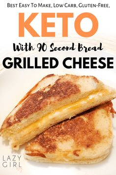 A healthy and tasty keto grilled cheese made with bread, then grilled in butter until perfectly golden and cheesy. Lunch or dinner idea that kids love too. This 90 second keto bread is going to make all of those low carb and keto bread dreams come true. Ketogenic Recipes, Low Carb Recipes, Diet Recipes, Cooking Recipes, Dessert Recipes, Quick Recipes, Recipes Dinner, Steak Recipes, Healthy Recipes