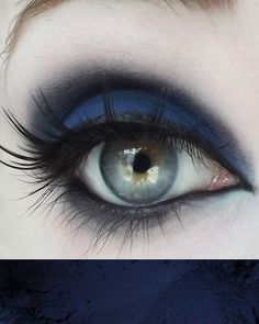 (Matte navy blue) Part of the Concrete Minerals line of Pro Matte Eyeshadows, an entire line designed with color-lovers in mind! Built on a deluxe base, these matte shades offer superior adhesion and Goth Makeup, Dark Makeup, Blue Eye Makeup, Eye Makeup Tips, Skin Makeup, Makeup Inspo, Makeup Inspiration, Beauty Makeup, Blue Makeup Looks