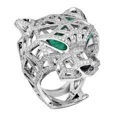 Cartier. Panthere de cartier. White gold, onyx, emerald & diamond panther ring...♡saved by Aantonella B. Rossi