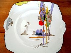 """Art deco china Bread & Butter Plate. Tams Ware """"Woodland"""".1656.Hand Painted. 