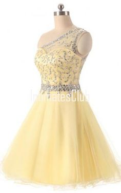 One Shoulder Yellow With Top Beaded Knee Length Homecoming Dresses