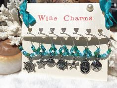 Aqua Beach Wine Charms, Beach Wedding Favors, Unique Wine Gift, Beach Table Decor Starfish, Seashell, Seahorse, Sand Dollar, LasmasCreations by LasmasCreations on Etsy