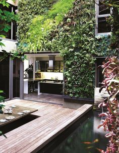 Exterior Vertical Garden Wall Children Play Courtyard Also With Wood Bars Floor And Natural Materials Indoor Green Wall Give A Large Benefits Interior Design Vertical Garden Wall, Vertical Gardens, Exterior Design, Interior And Exterior, Wall Exterior, Outdoor Spaces, Outdoor Living, Indoor Outdoor, Landscape Design