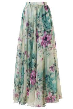 Elegant Floral Chiffon Maxi Skirt