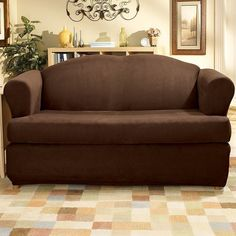 Sure Fit Stretch Suede T-Cushion Loveseat Slipcover, Brown