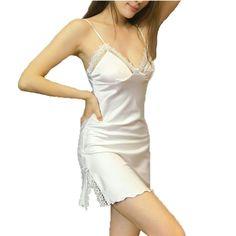 0c03e73ba9 Women Sleepshirts sexy women s summer style nightgowns MINI nightwear silk  sleepwear with lace flower suspenders home wear hot
