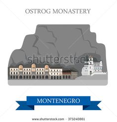 Ostrog Monastery in Montenegro. Flat cartoon style historic sight showplace attraction web site vector illustration. World countries cities vacation travel sightseeing collection. - stock vector