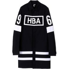 Hba  Hood By Air Coat ($1,040) ❤ liked on Polyvore featuring men's fashion, men's clothing, men's outerwear, men's coats and black