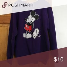 Mickey Mouse sweatshirt Purple Mickey Mouse sweatshirt. Worn once or twice only! Tops Sweatshirts & Hoodies