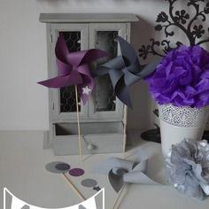 10 moulins à vent violet mauve gris argenté- décoration mariage - décoration baptême -  accessoires photobooth - décoration chambre enfant fille bébé