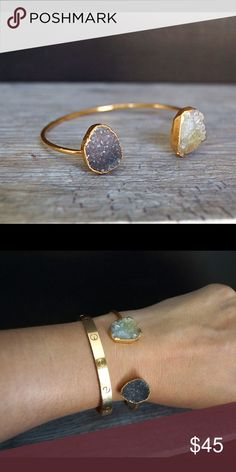 Beautiful Druzy gold bangle bracelet Adjust gold plated bracelet featuring two different Druzy stones. Will fit all sizes.   All Function & Fringe is a mixture of carefully curated pieces and original designs made with ❤️ in California!   ❤I have over 300 new with tag Free People & Function& Fringe items for sale! I love to offer bundle discounts!  ❤No trades. love the item but not the price? Submit an offer! Function & Fringe Jewelry Bracelets