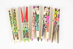 Clothespin People and Doodles | Pink Stripey Socks