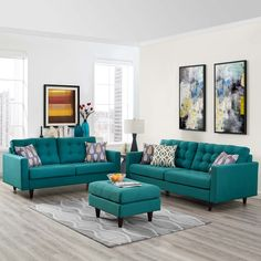 Modway Empress Sofa and Loveseat Set of 2 Multiple Colors - Living Room Turquoise, Teal Living Rooms, Living Room Sofa Design, Living Room Sets, Home Living Room, Living Room Designs, Living Room Decor, Turquoise Couch, Teal Living Room Furniture