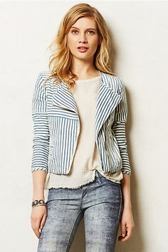Would love to start working lightweight jackets into my summer office look.  My office is chilly.  I love the shorter sleeves and opposing stripes on this jacket.  Not a fan of those jeans though.