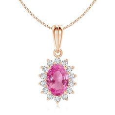 Angara Round Pink Sapphire Necklace Pendant in Rose Gold 6bJLrl8h