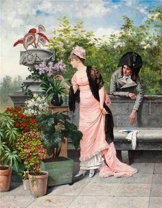Hagborg, August (b,1852)- Man Admiring a Woman Admiring Flowers
