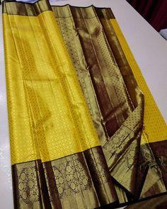 Mysore Silk Saree, Pure Silk Sarees, Indian Sarees Online, Buy Sarees Online, Yellow Saree Silk, Formal Saree, Kanchipuram Saree, Indian Fashion Dresses, Fancy Sarees